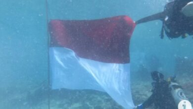 Photo of 17 Bendera Merah Putih Berkibar di Dalam Laut Pulau Bando Sumbar
